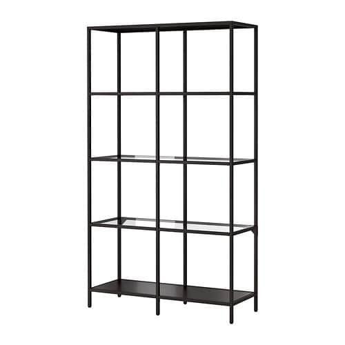 Ikea Libreria Metallo.Vittsjo Scaffale Marrone Nero Vetro Home Sweet Home