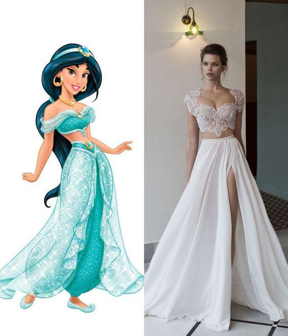 Modern wedding dresses for every disney princess modern for Disney style wedding dresses
