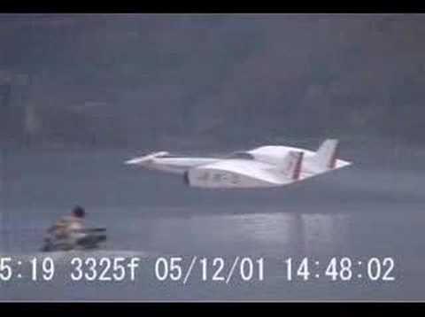 Large WISES model flying! (Japanese ekranoplan and WIG concept) 空飛ぶ船(大型模型)
