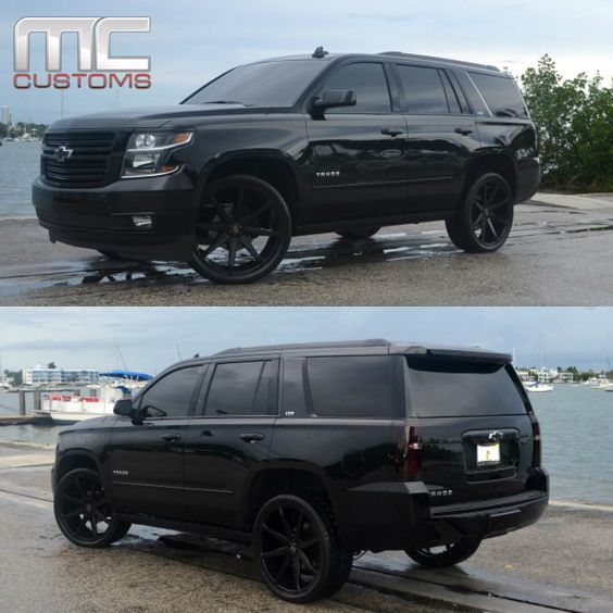 """""""2015 Chevy Tahoe LTZ blacked out.!!!!  #Chevy #Chevrolet #Tahoe My dream car ♡♡♡♡"""