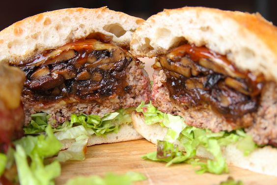 Mushroom swiss burger, Beer cans and Burgers on Pinterest