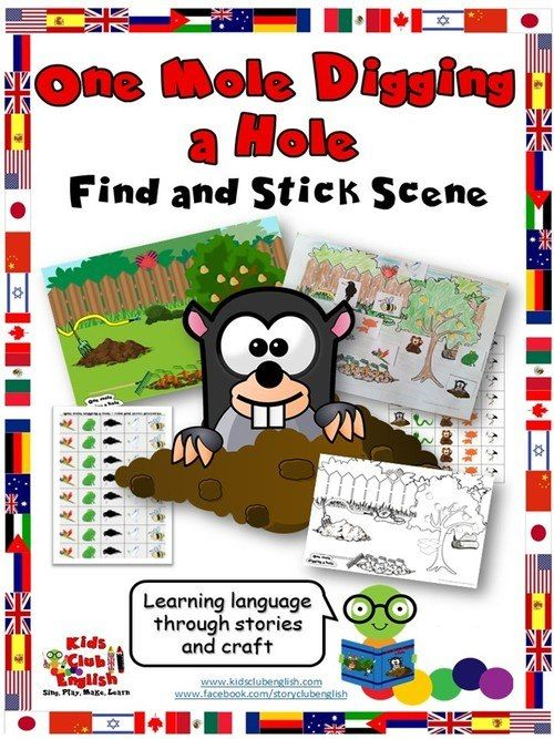 One Mole Digging A Hole Find And Stick Craft Craft Stick