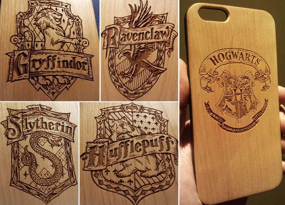 Hogwarts Badge Wood Phone Case - Harry Potter Inspired Gift Gryffindor Ravenclaw Slytherin - UK MADE - iPhone 5 5s 6 plus Samsung s5