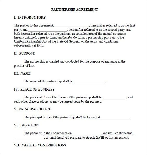 Partnership Agreement Sample legal form Pinterest Real - commercial business form