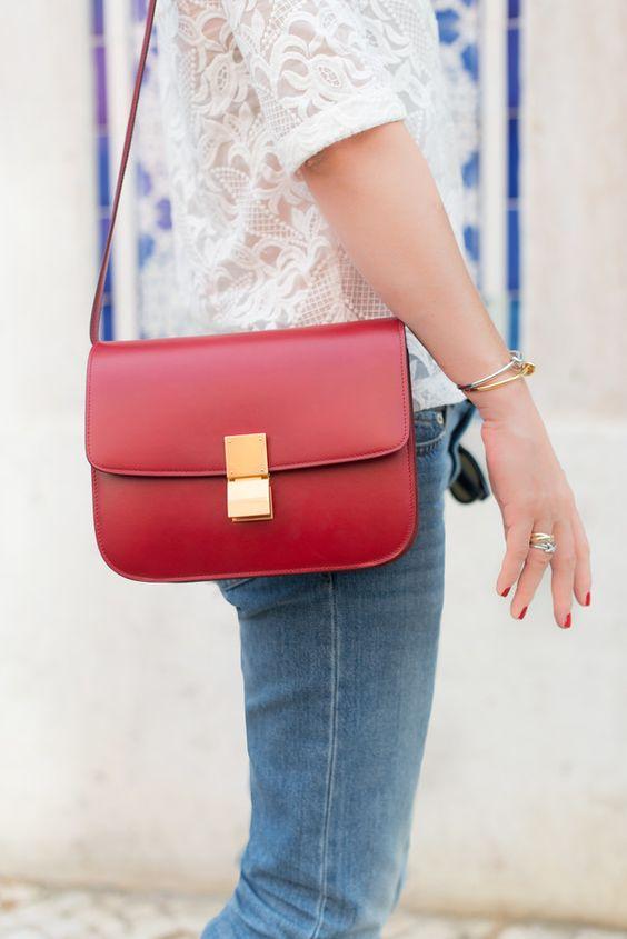 celine red patent leather handbag classic