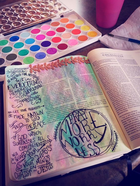 Philippians 4:6-7 bible journaling #illustratedfaith #erinjournalsthebible: