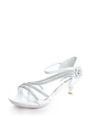 White Gorgeous Rhinestones Girls Kitten Heel Shoes (Sizes Kids 9