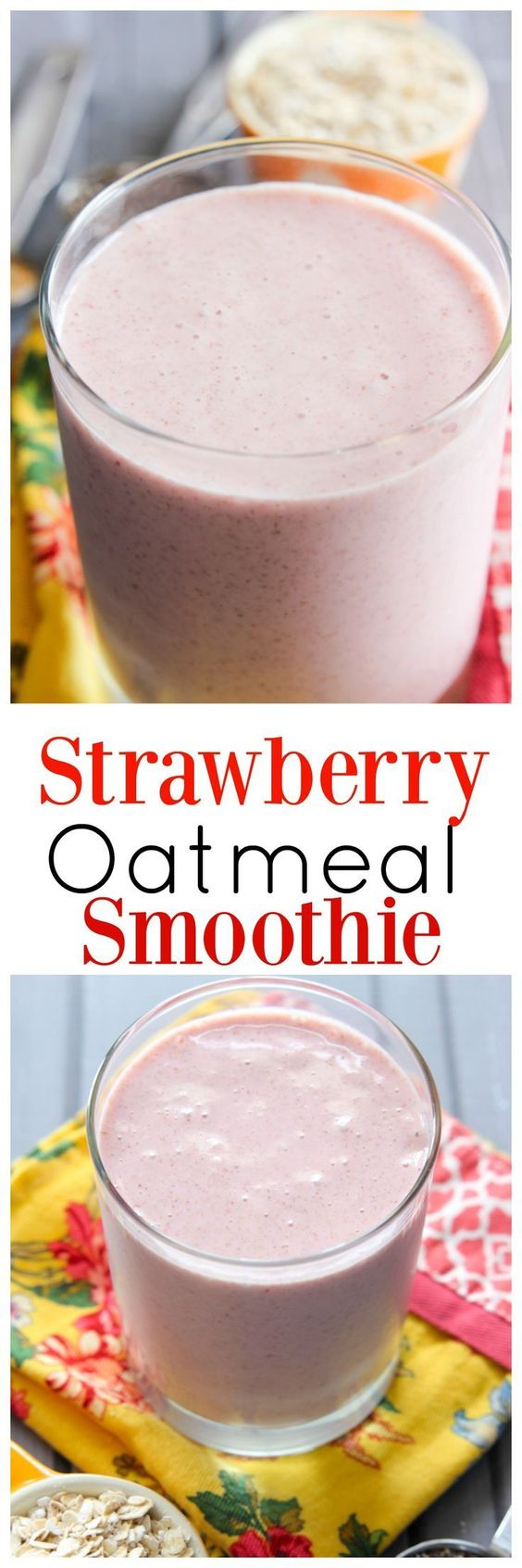 If you're looking for a delicious smoothie recipe to add to your collection, you need this Strawberry Oatmeal Smoothie recipe. It's full of lots of good-for-you stuff and keeps you full!