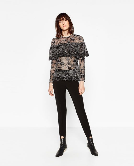 Image 1 of LACE TOP WITH FRILLS from Zara