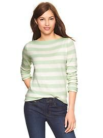 Eversoft envelope-neck striped sweater