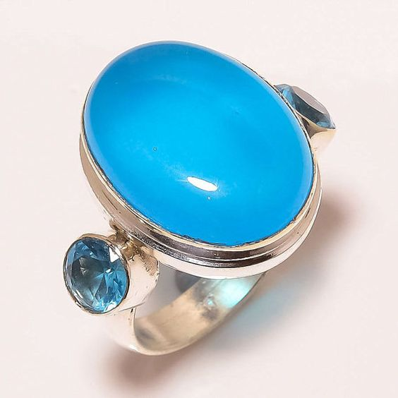 Chalcedony Ring Sterling Silver Ring Blue by ENTICESILVERSTORE