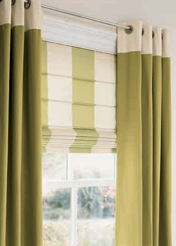 Curtains Ideas curtain rod roman shades : I like this look, might prefer skootching the Roman to meet the ...