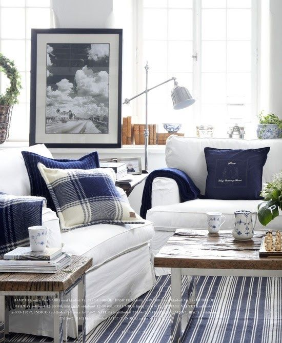 Blue and white - Living Room - Bellitudoo  I like the plaid pillow & throw on white furniture.:
