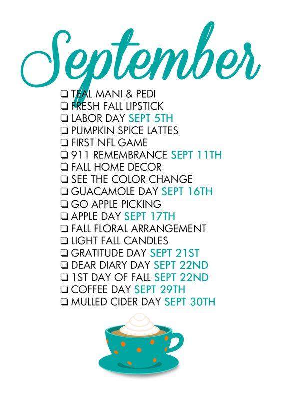 September Seasonal Living List