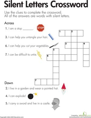 Printables 3rd Grade Phonics Worksheets crossword phonics worksheets and on pinterest second grade silent letters crossword