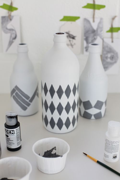 Glass bottles spray painted with a matte white paint then for How to paint bottles with acrylic