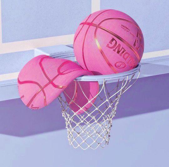 Pink Basketball Art Collage Wall Pastel Pink Aesthetic Aesthetic Pastel Wallpaper