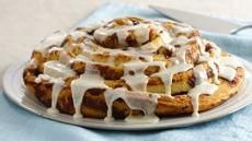 Giant Cinnamon Roll.  So easy to make using a can of Pillsbury refrigerated cinnamon rolls.