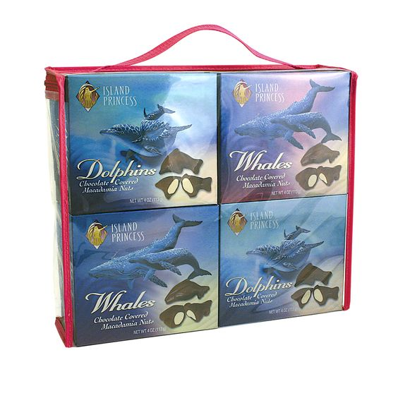 12 Pack - 4oz Assorted - 6 Boxes each of  Chocolate Whale's and Chocolate Dolphin's. Such nice art work on these boxes.