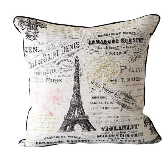 Paris pillow cover black and white