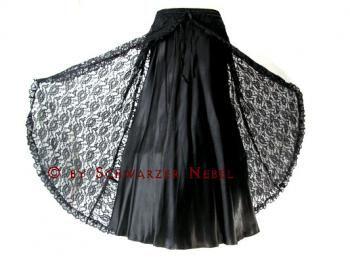 Langer Barocker Gothic Satinrock 'Iaeith' mit Überrock, diverse Farben - Gothic Damenröcke - Gothic Damenmode