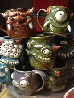 Pinch Pot Monsters - McMurray Art Room. Fortunately,  I have a talented sister that can make these for me.