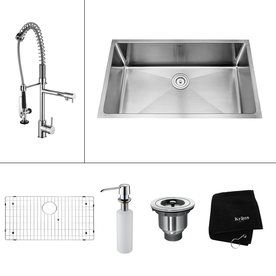Kraus Kitchen Combo 19-in x 32-in Stainless Steel Single-Basin Undermount Kitchen Sink