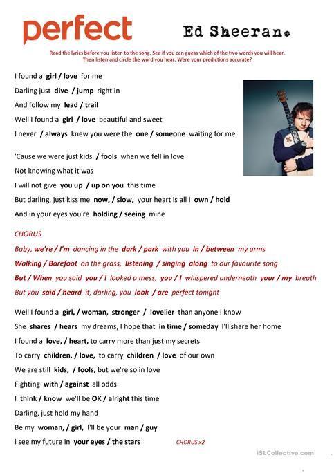 Ed Sheeran Perfect Parole : sheeran, perfect, parole, Perfect', Sheeran, Songs,, Lyrics,