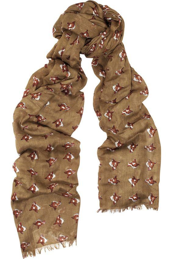 Animal print scarf, but not in this colour    Aubin & Wills|Denton fox-print woven scarf|NET-A-PORTER.COM