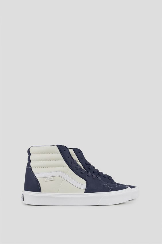 VANS VAULT SK8 HI LITE LX LEATHER MARSHMALLOW BLUE