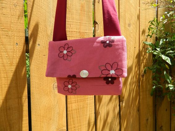 Pink Corduroy with Blooms Embellished Envelope Cross Body Bag with Shoulder Strap Lightweight