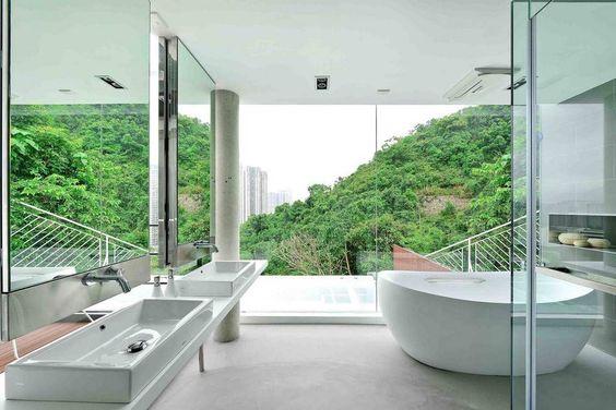 Casa Sustentável Como Tributo à Tecnologia Moderna-banheiro suíte principal