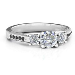 Three Stone Eternity Engagement Ring with Twin Accent Rows #jewlr