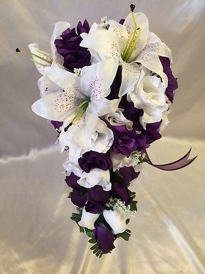 Purple-White-Wedding-Bridal-Bouquet-Cascade-Silk-Flower-Package-Tiger-Lily-22-Pc