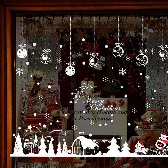 Vente chaude Cabine Flocon De Neige Stickers Muraux Joyeux Noël Décoration Autocollant Fenêtre Autocollant Décor À La Maison Chambre Pour Magasin Café Portes Décor de la boutique en ligne | Aliexpress mobile