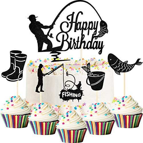 Download 80th Birthday Cakes And Cake Ideas In 2021 Fishing Birthday Fishing Theme Party Fishing Cake Topper