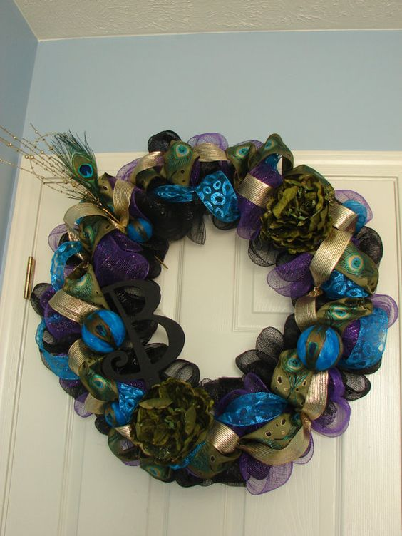 Peacock Deco Mesh Wreath by TheBlueCabana on Etsy, $113.00