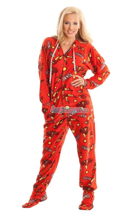 ironman marvel comics pajamas footie pjs onesies one piece adult pajamas super stuff. Black Bedroom Furniture Sets. Home Design Ideas