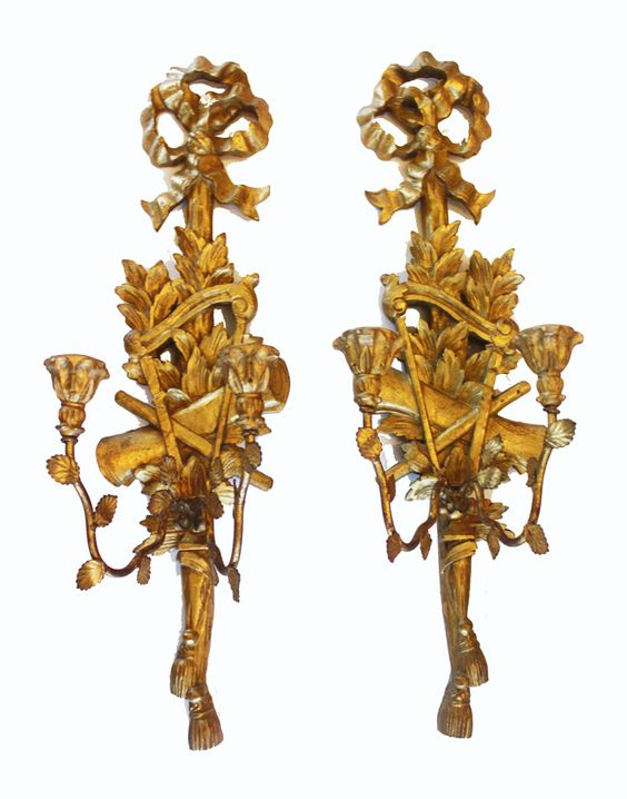 Antique Wood Wall Sconces : Incredible Xlrg Antique Palladio Carved Gilt Wood Wall Sconces- Home Decor: Candle Holders ...