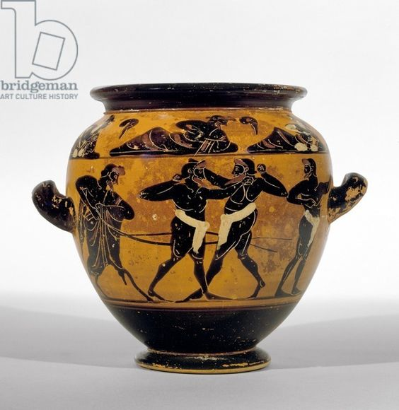 Attic black-figure stamnos depicting boxers, c.520-500 BC (pottery) (see also 100575) Creator Michigan painter (fl.520-500 BC) Nationality Greek Location Ashmolean Museum, University of Oxford, UK