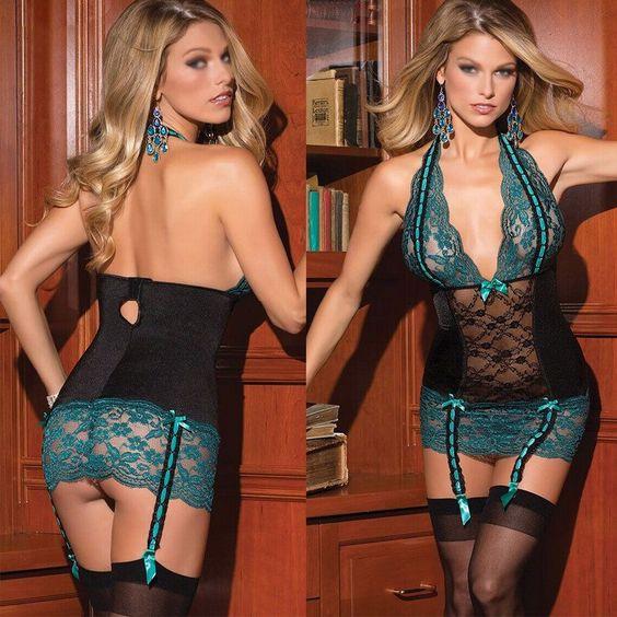 Women Lingerie Halter V-Neck Babydoll Bodysuit Sleepwear Lace Teddy Nightgown