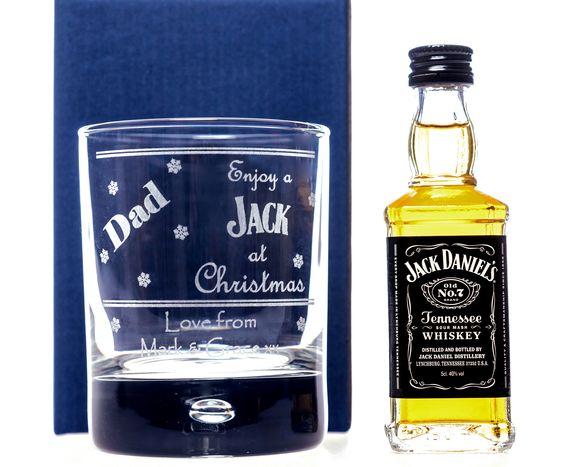 Engraved CHRISTMAS JACK Design Glass + Miniature Jack Daniels