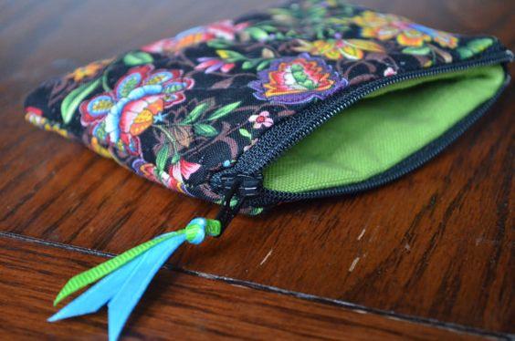 Quilted Floral Change Purse Handmade zipper pouch by JoyfulChange