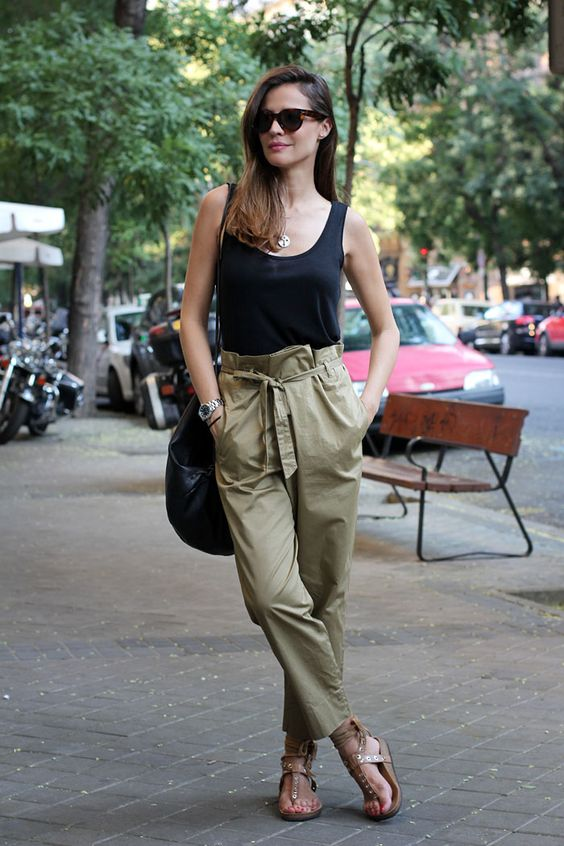 black tank + khaki pants // Lady Addict