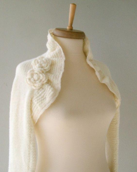 Cashmere-Strickjacke für Hochzeit Ivory von DokumaAccessories