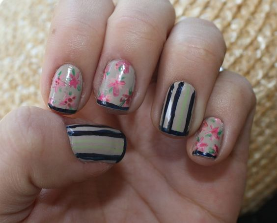 It's because I think too much: Floral Silk Manicure #nails #floral #stripes
