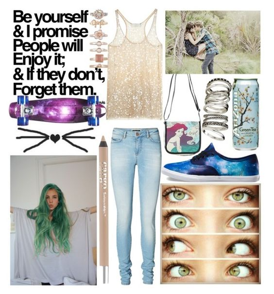 """""""Be yourself"""" by mermaidlove123 ❤ liked on Polyvore featuring Vero Moda, Vans, CARGO, Disney, 1&20 Blackbirds, D-Street and H&M"""