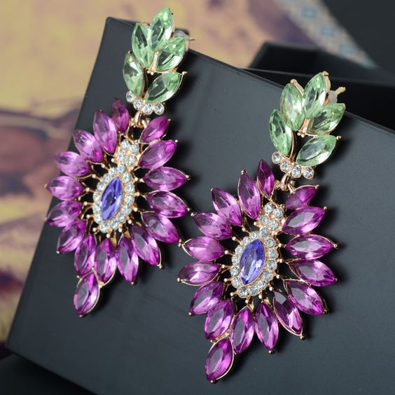 Women's Purple Rhinestone Statement Chandelier Dangle Hook Earrings 1 Pair-in Drop Earrings from Jewelry & Accessories on Aliexpress.com | Alibaba Group