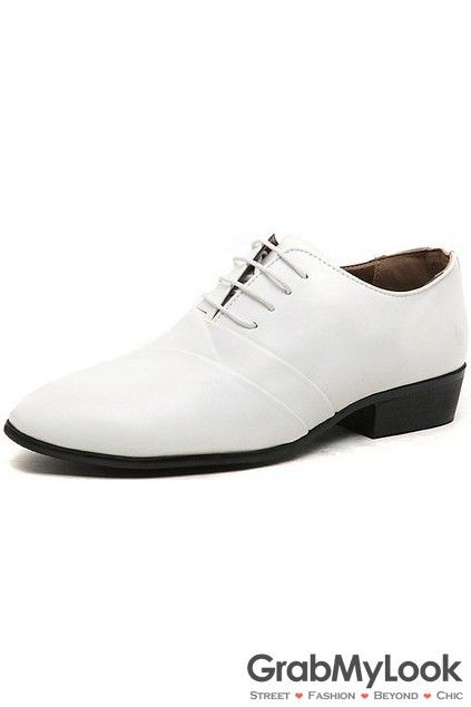 GrabMyLook Patent Leather White Lace Up Point Head Mens Oxfords Shoes