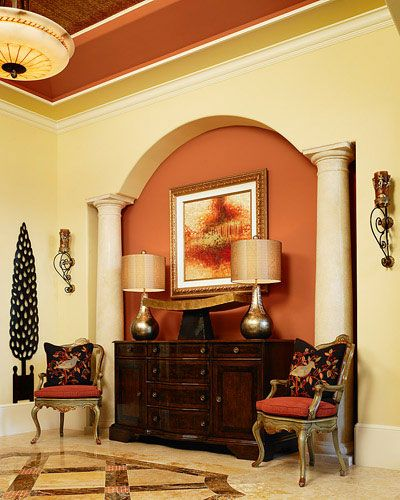 Entry Wall Color Orange ceiling and wall color combination/crown molding